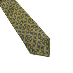 BROOKS BROTHERS BASICS Gold Blue Squares silk tie